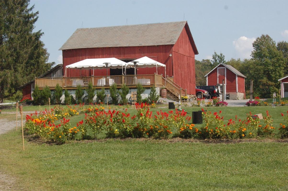 Andelyn Farm Camground wedding hay barn and wildflowers